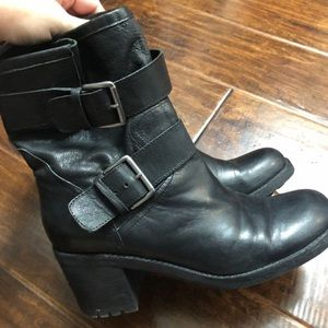 Sam Edelman Black Leather Buckle Boots size 9.5